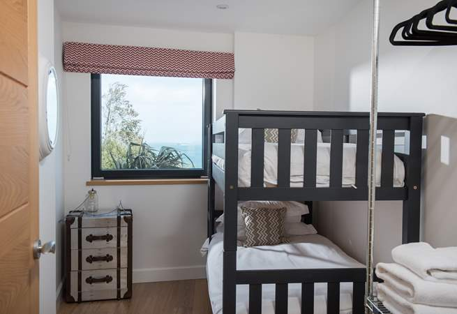 The bunk-bed room, with a sea view.