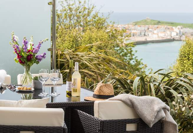 The balcony is just perfect to enjoy a glass of wine.