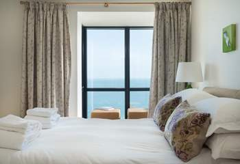 The stunning sea view from the main bedroom.