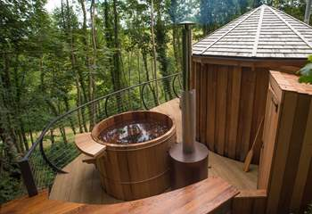 The cedar wood-fired hot tub is just amazing!