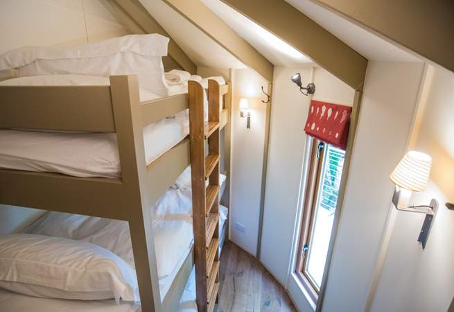 The triple bunk bedroom - compact but with super comfortable mattresses on each bunk.