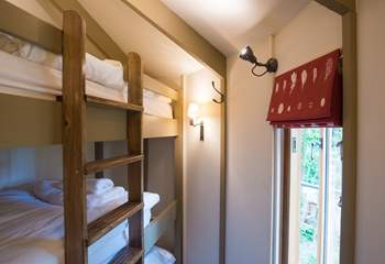The triple bunk-room is compact but each bunk has lovely comfy mattresses and beautiful bed linens.
