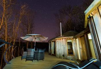 Stargaze at the night's sky from the hot tub.