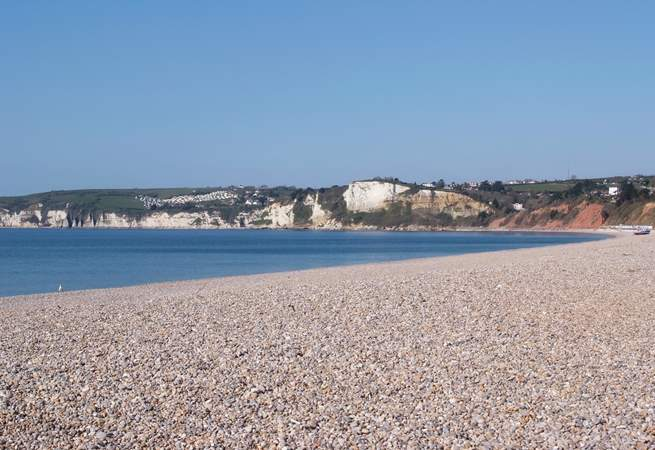 This is the closest beach - a wonderful stretch of pebbles at Seaton. You can go there by tram from Colyton!
