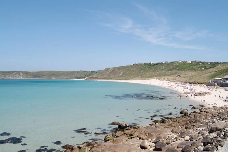 The view across beautiful Sennen Cove.