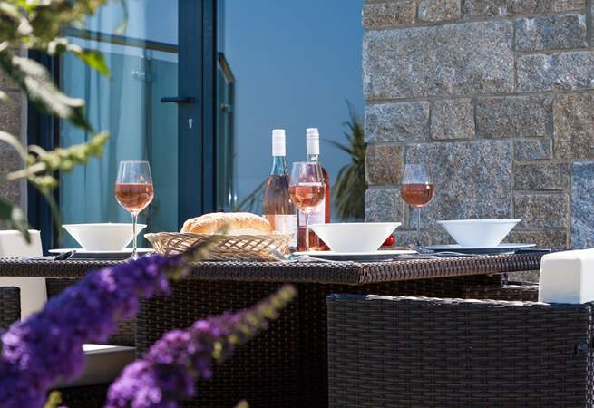 The terrace is the perfect spot for cheese and of course  a delicious glass of chilled wine.