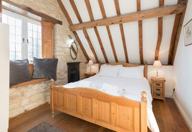 This is the double bedroom which has views to the front of the cottage and across the valley.
