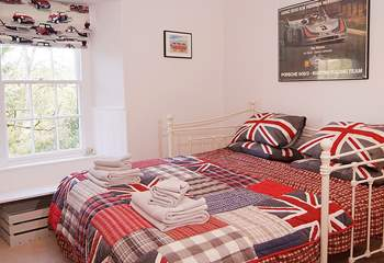 This is the third bedroom made up as a 6' king-sized bed with the two single beds pushed together.