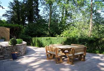 This is the lovely terrace at the front of the house. Steps come down to the left-hand side from the parking-area. You are not overlooked by any other property.