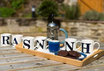 Fresh coffee and chocolate biscuits - what a place to sit outside before going out for the day.