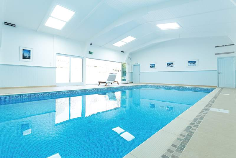 The fabulous shared indoor swimming pool is heated to 32 degrees and and available 24/7, with colour-changing lights for evening swims.