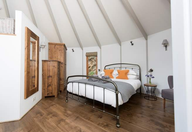 The gorgeous king-size bed in the main yurt.