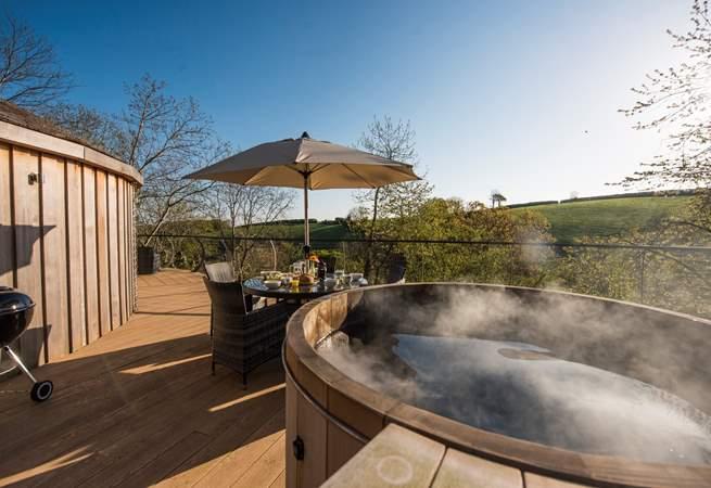 The fabulous cedar wood-fired hot tub.