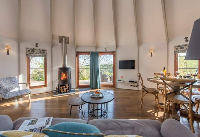There is a huge 8 metre diameter living space in the large yurt and a triple bunk bedroom an en suite shower-room in the smaller yurt.