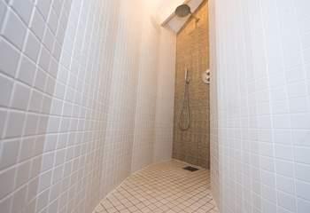 The luxurious en suite shower-room to the bunk bedroom.