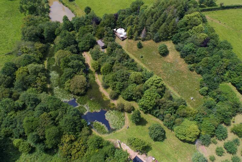 An aerial view of Ashley's Shack tucked into the woodland overlooking the pond. Here you can also see Poppy Yurt, they are both private from each other with plenty of space for all.