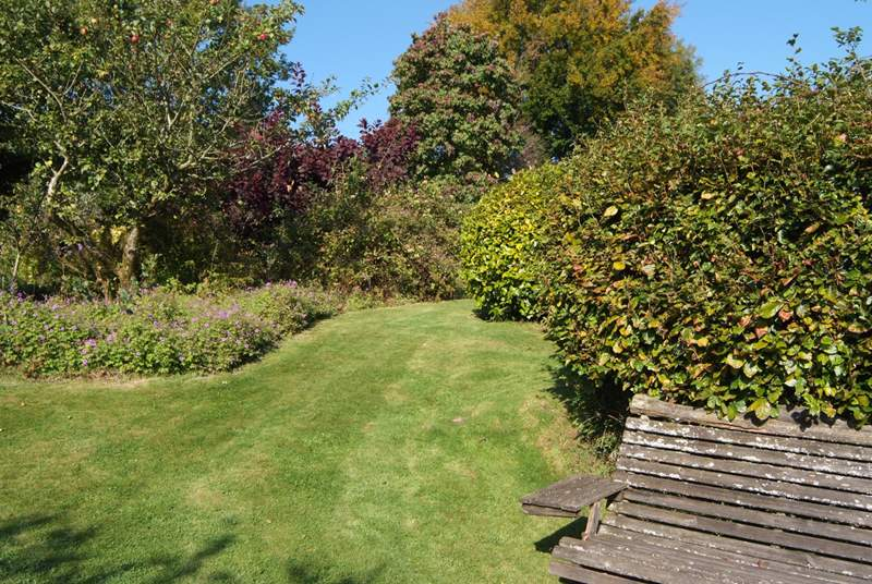 The garden offers several lovely seating areas where you can enjoy the views and the peace.