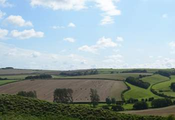 Rural Dorset from Maiden Castle, just outside of Dorchester, one of the largest Iron Age hill forts in Europe.