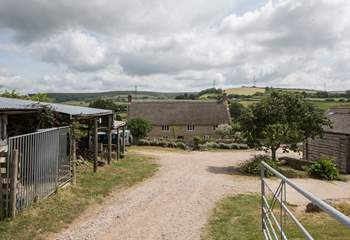 This delighful farmyard has far-reaching views, the helpful owners live in the farmhouse in the middle  of the photo.