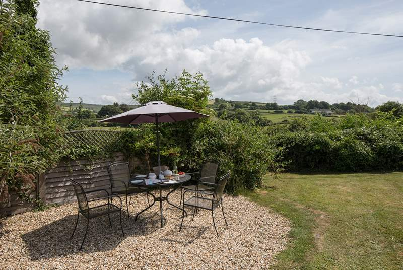A very tranquil setting for al fresco dining, with views towards Eggardon Hill.