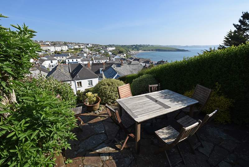 There are lovely sea views from the top terrace of Gerrans Bay.