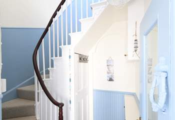 The stairs leading up to the living area.