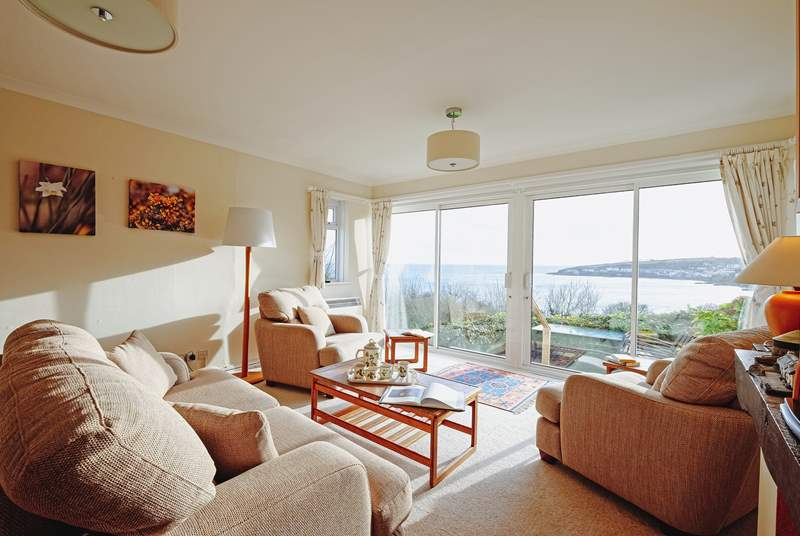 The living room has quite the view looking across to Portscatho.
