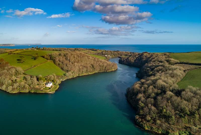 Between river and sea. An aerial view of Quay Cottage and it's fabulous location.