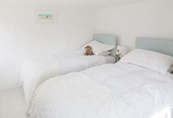 The ground floor bedroom has a super comfy 6ft zip and link (double or twin) beds, split here into two 3ft single beds.