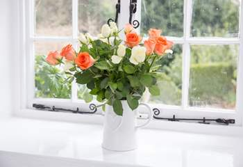 The thick walls create beautiful window sills.