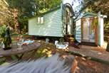 A delightful place to stay with the shower cabin just steps away - luxury glamping indeed!