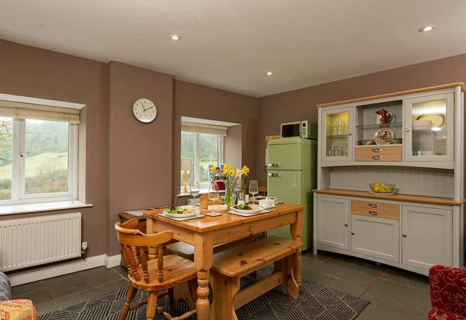 This is a wonderful social dining space for guests to enjoy after a day out exploring the Jurassic Coast.