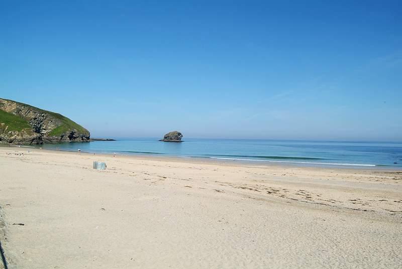 The sandy beach at nearby Portreath.