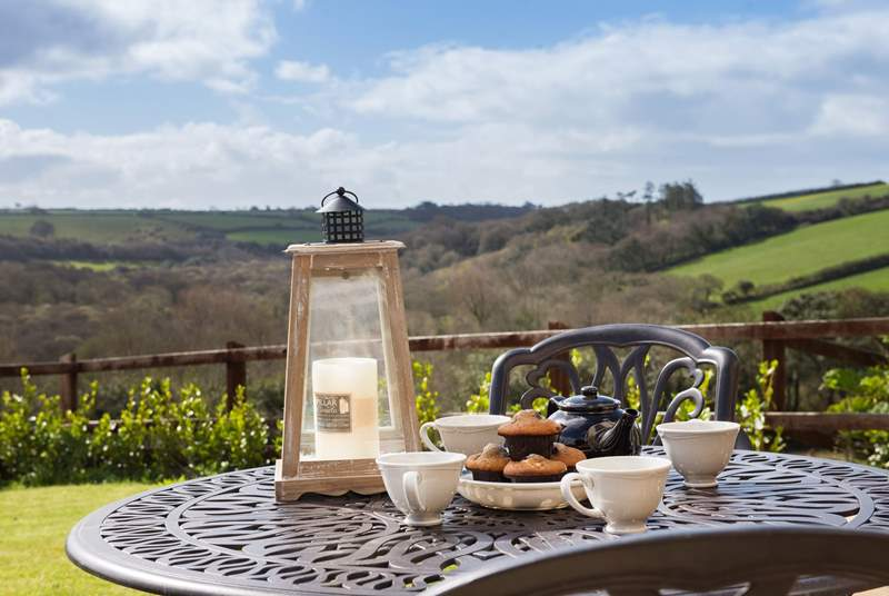 Sit out on the terrace for breakfast, lunch and dinner and enjoy those views across the Penrose Estate.