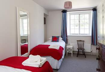 Bedroom 1, the  twin room, is perfect for children with its bright colours, both beds are 3ft.