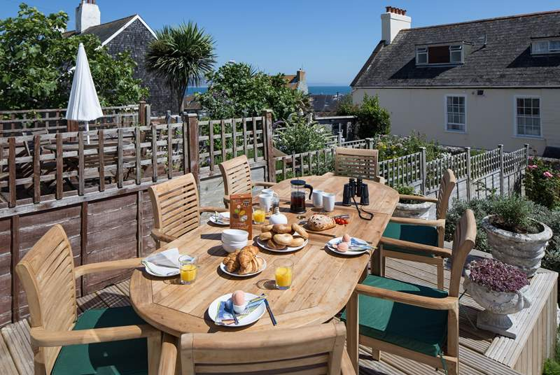 Breakfast on the terrace, what better start to a day with a view across to Lyme Bay and Monmouth beach.