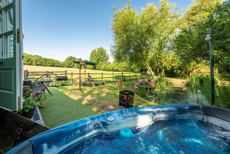 You can soak in the hot tub (complete with MP3 player fitting) with countryside views - not overlooked at all.