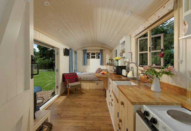 This beautifully bespoke shepherd's hut has everything you will need for your luxury glamping holiday.
