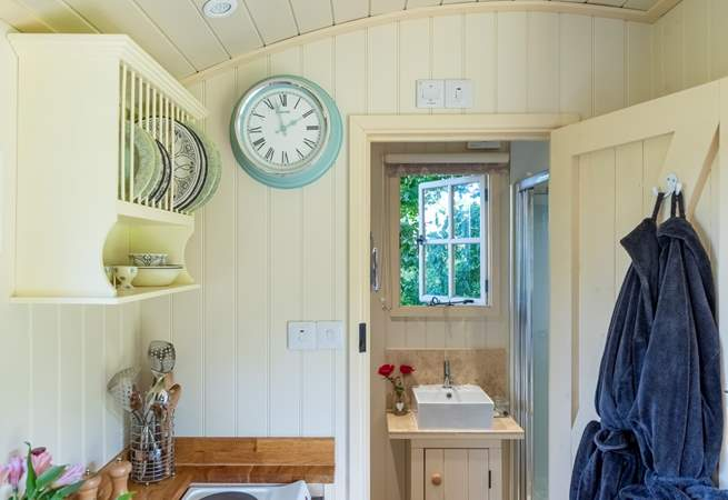 Looking towards the en suite - the lovely owner even provides robes for when you are popping to and from the hot tub.