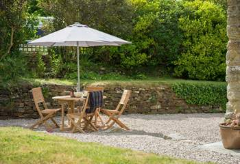 The enclosed patio and terraced garden can be a real sun-trap.