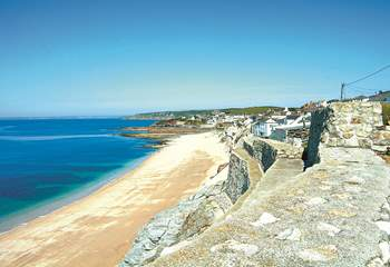 The beach at Porthleven, great for walking on and relaxing but swimming is not advised due to the dangerous currents.