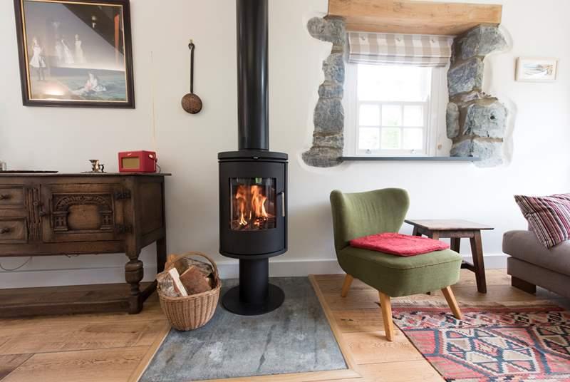 A roaring wood-burner.