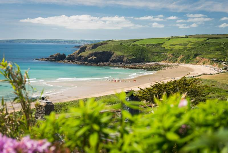The beach at Praa Sands is beautiful all year round but especially when the sun shines.