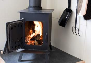 This cosy little wood-burner will keep you very warm and toasty.