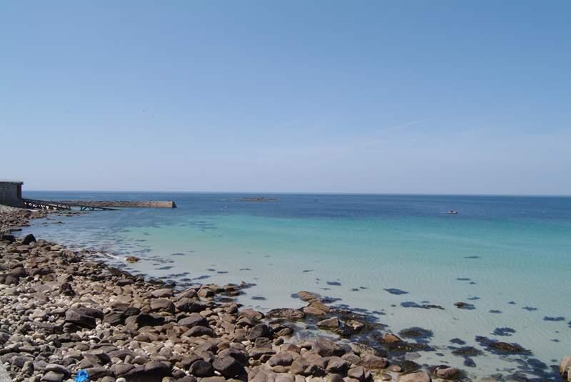 Clear seas at Sennen Cove.