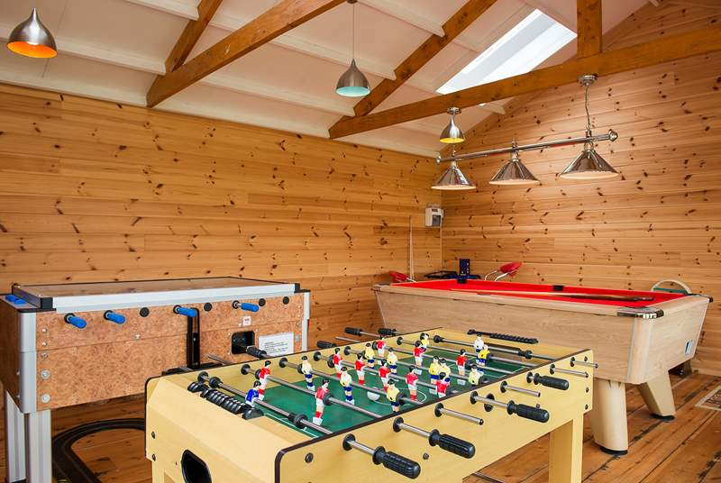 The communal games-room has table-football, pool and a whole host of other games and toys available.