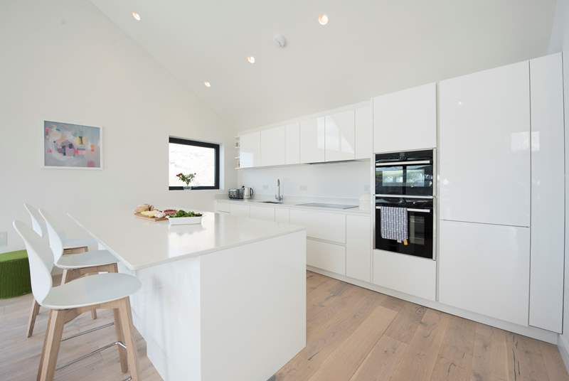 The sleek kitchen is not only great looking but very well-equipped.