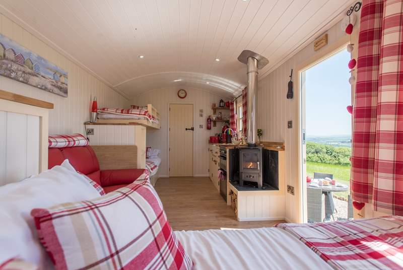 With a king-size double bed and bunk-beds and the en suite shower-room too.