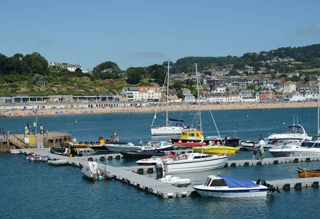 Lyme Regis from the Cobb, with its beach and vibrant promenade.