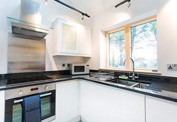 The well-equipped and stylish kitchen.
